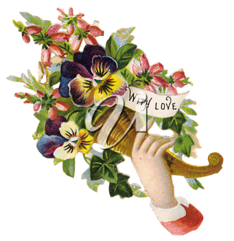 Royalty Free Clipart Image of a Man With a Valentine Bouquet