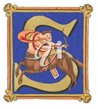 Royalty Free Clipart Image of a Centaur on the Letter S