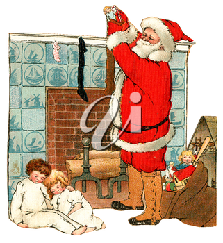 Royalty Free Clipart Image of Santa Filling Stockings