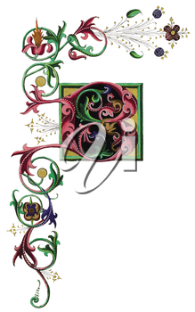Royalty Free Clipart Image of a Fancy Letter F
