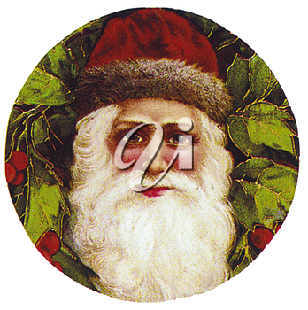 Royalty Free Clipart Image of a Victorian Santa