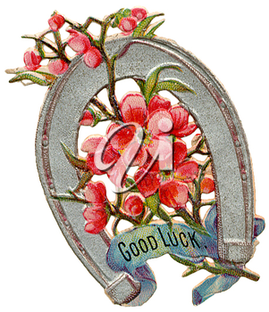 Royalty Free Clipart Image of a Good Luck Horseshoe with Flowers