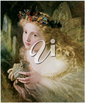 Royalty Free Clipart Image of the This Your Fairy's Made of Most Beautiful Things by Sophie Anderson