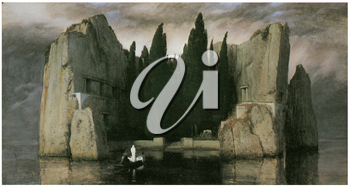 Royalty Free Clipart Image of Island of the Dead by Arnold Bocklin