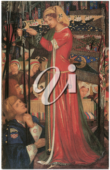 Royalty Free Clipart Image of Before the Battle by Dante Gabriel Rossetti