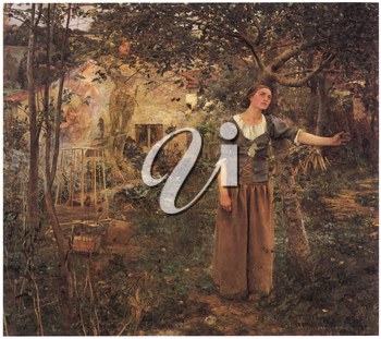 Royalty Free Clipart Image of St. Joan of Arc by Jules Bastien-Lepage