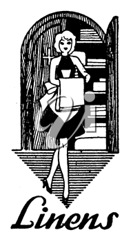 Royalty Free Clipart Image of a Vintage Linens Advertisement