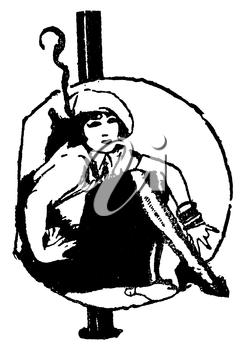 Royalty Free Clipart Image of a Woman sitting