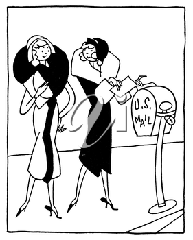 Royalty Free Clipart Image of a Pair of Ladies Mailing a Latter