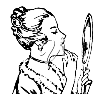 Royalty Free Clipart Image of a Woman Admiring Her Reflection in the Mirror