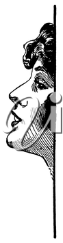 Royalty Free Clipart Image of a Woman's Face in Profile