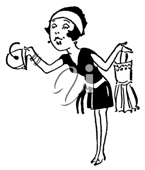 Royalty Free Clipart Image of a Woman Holding Clothes