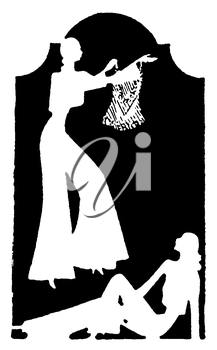 Royalty Free Silhouette Clipart Image of Women Showing and Admiring Clothing