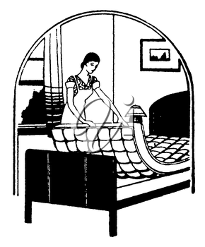 Royalty Free Clipart Image of a Maid Making the Bed
