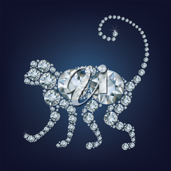 2016 new year card with monkey made up a lot of diamonds on the black background