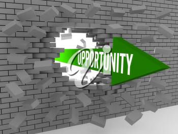Arrow with word Opportunity breaking brick wall. Concept 3D illustration.
