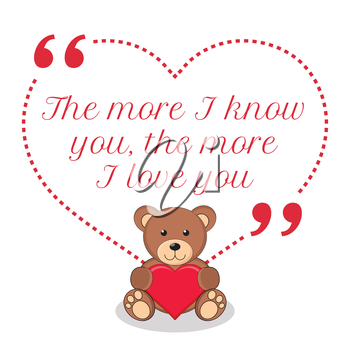 Inspirational love quote. The more I know you, the more I love you. Simple cute design.