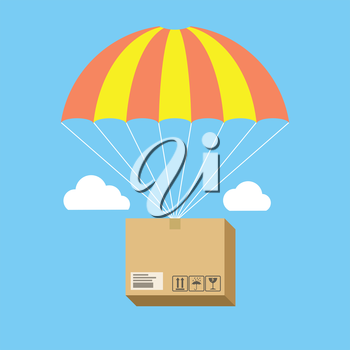 Package flying on parachute, delivery service concept. Flat design. Isolated on color background