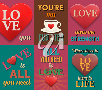 Unusual inspirational love posters. Set 1. Vector illustration