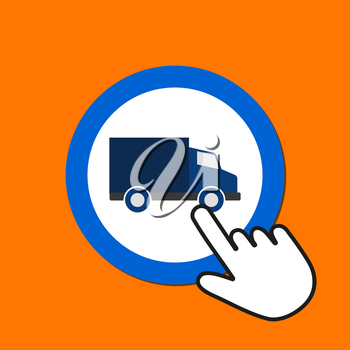 Commerce van icon. Delivery concept. Hand Mouse Cursor Clicks the Button. Pointer Push Press