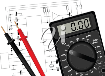 Illustration of a digital multimeter on the electrical circuit