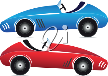 Illustration of two toy racing cars of different colors on a white background