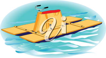 Illustration of yellow water bike on the waves