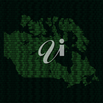 Illustration of silhouette of Canada from binary digits on background of binary digits