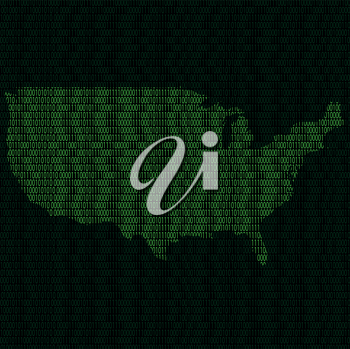 Illustration of silhouette of USA from binary digits on background of binary digits