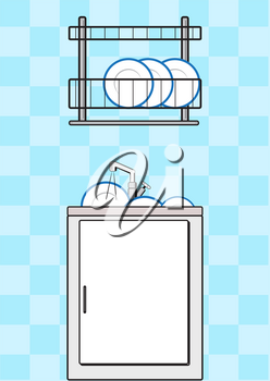 Illustration of dishwashers and kitchen utensil stands