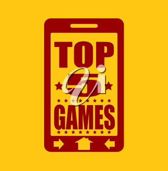 Top five games text on phone screen.  Abstract touchscreen with lettering.