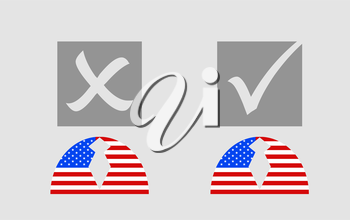 USA flag textured persons icon with vote mark. Image relative to parliament, president and others elections in United States of America