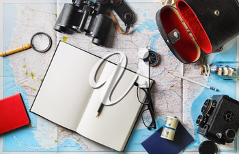 Traveler items. Vacation concept. Essential travel accessories. Flat lay.