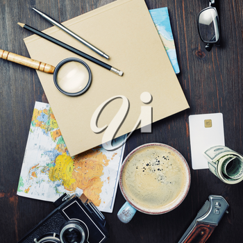 Planning vacation trip. Travel or vacation concept. Accessories for travel. Top view. Flat lay.