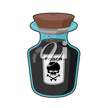 Bottle with poison. Magic Vintage bottle with a black potion. Skull sticker. Life threatening. Glass vessel to death with a wooden stopper.