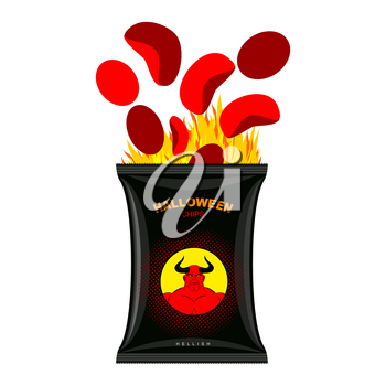 Hellish chips for Halloween. Packing snacks with Satan. Hellfire in black tutus. Red chips are eliminated from  packaging. direful food for terrible holiday. Vector illustration Devil's food