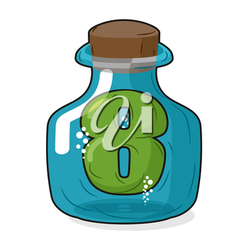 Seven in Bank for chemical research. Figure 7 magic bottle. Laboratory studies and experiments on number 7. Vector illustration