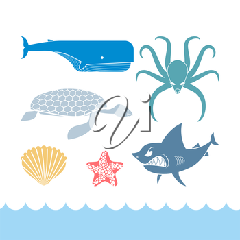 Underwater World Set flat icons. Animals Ocean. Shark and octopus. Tortoise and whale. Starfish and scallop. Stock residents Ocean