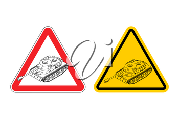 Warning sign of attention War. Dangers yellow sign army. Tank on red triangle. Set of road signs
