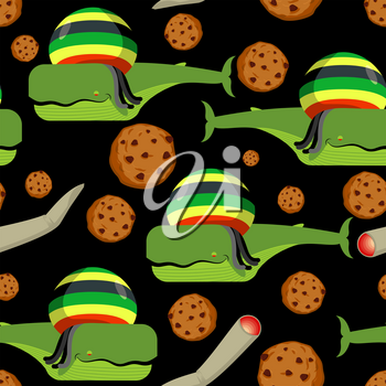 Rasta whale and cookies seamless pattern. Large marine animals in Rastafarian hat ornament. Long black dreadlocks. Stoned drug blower. jamaica beast background