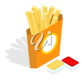 French fries isometrics. Slices of roasted potatoes in paper box. 3d Fast food. Fresh juicy yellow potatoes. Set sauces, condiments: ketchup and cheese sauce
