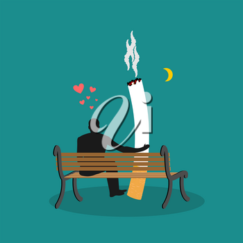 Lover smoke. Man and cigarette looking moon. Smoker on bench. Nicotine lovers night sky. Romantic illustration of smoking