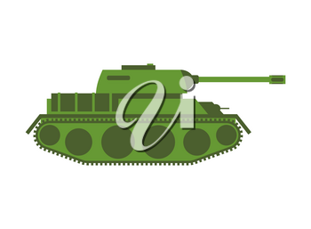 Tank isolated. Military equipment on white background, armored combat vehicle, tracked with cannon armament. army transportation