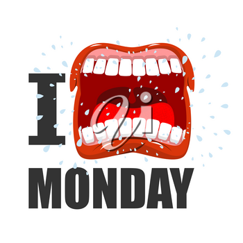 I hate Monday. shout symbol of hatred and antipathy. Open mouth. Flying saliva. Yells and strong scream. Logo hatred weekday