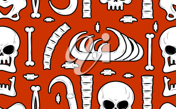 Skeleton background. Bones seamless pattern. Skull ornament. Anatomy texture. Hell pattern. Skull and spine. jaw and pelvis. Halloween template. Religion design