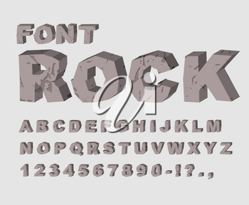 Rock font. Alphabet of stones. ABC made of lithic rock. stony letters set