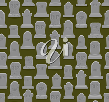 RIP seamless pattern. Old gravestone ornament. Cemetery background. Tomb texture. Grave Ancient. Tombstone With cracks