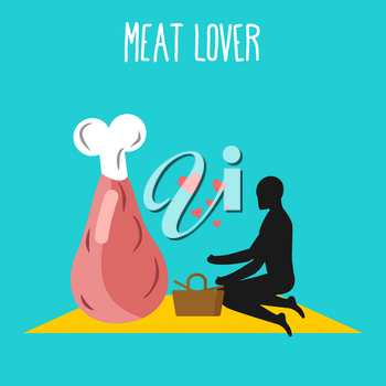 Meat lovers. ham pork on picnic. Rendezvous in Park. Beef and people. Rural jaunt in love wit food. Meal in nature. Plaid and basket for food on lawn. Romantic illustration of jamon