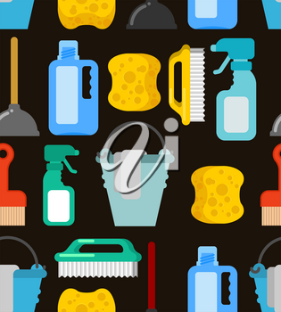 Cleaning seamless pattern. Accessories cleaner background. Brush and plunger. bucket and floorcloth. Sponge and sprayer