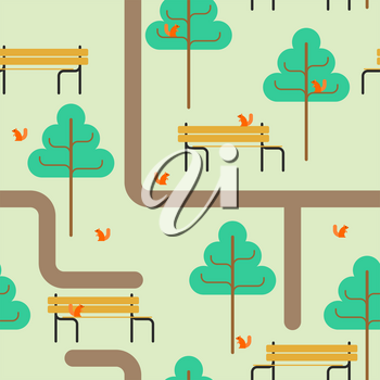 Park map pattern. Path and tree ornament. Bench and squirrel. Square landscape background. kids fabric texture